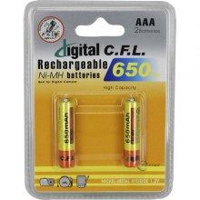 باتری نیم قلمی قابل شارژ C.F.L مدل ۶۵۰ AAA بسته ۲ عددی